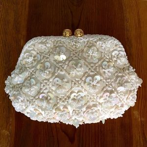Vintage silk beaded bridal clutch